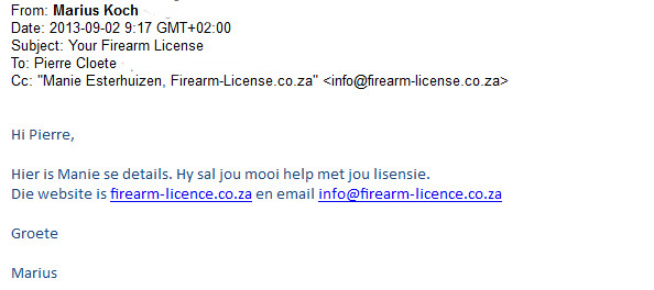 gun license gauteng
